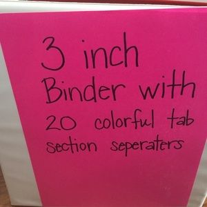 Other - 4 new 3 inch wide binders: 2 black, 2 white